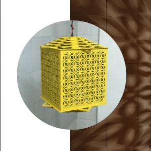 MDF Laser Cut Lantern Size S, Colour Yellow